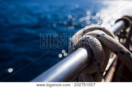 Sailboat rope, yacht close-up. Yachting