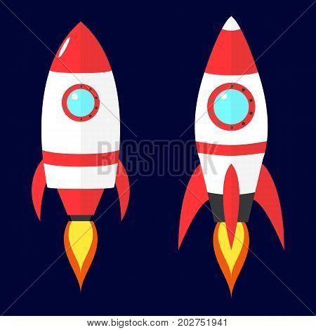 Cartoon vector red rockets on dark blue background. Flat spaceship.