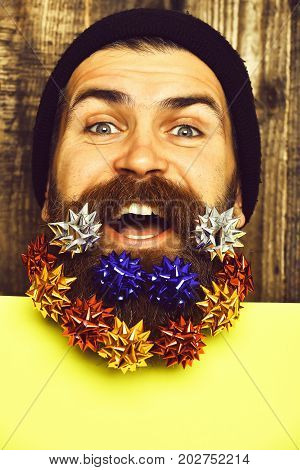 Bearded Man, Brutal Caucasian Happy Hipster With Gift Decoration Stars