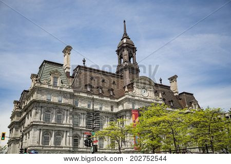 MONTREAL - May 28: Montreal's city hall is one of the best examples of the Second Empire style on May 28 2017 in Montreal Canada.