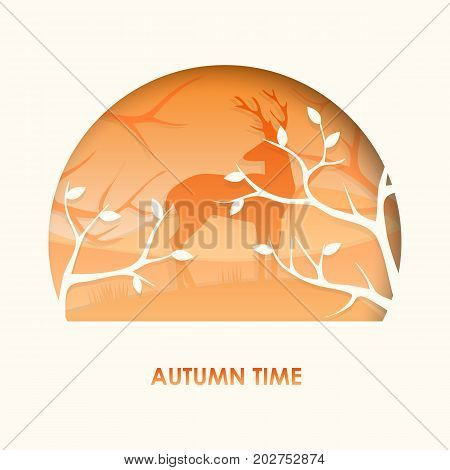 3d abstract paper cut illlustration of deer in the autumn forest. Vector colorful postcard template in carving art style. Eps10.