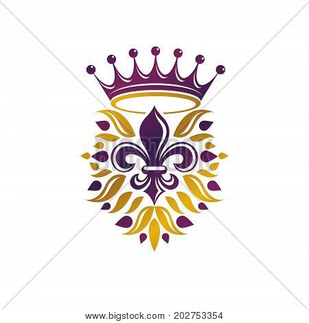 Retro golden vintage Insignia created with lily flower and imperial crown. Vector product quality idea design element Fleur-De-Lis.