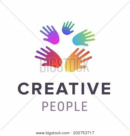 Hands logo. Abstract creative people logo template. Vector illustration