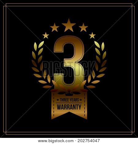 Three Years Warranty background with red ribbon and olive branch on white. Poster label badge or brochure template. Vector illustration