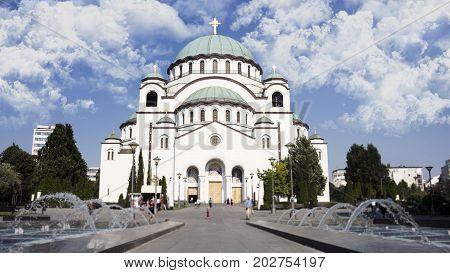 Orthodox church of Saint Sava in Belgrade Serbia poster