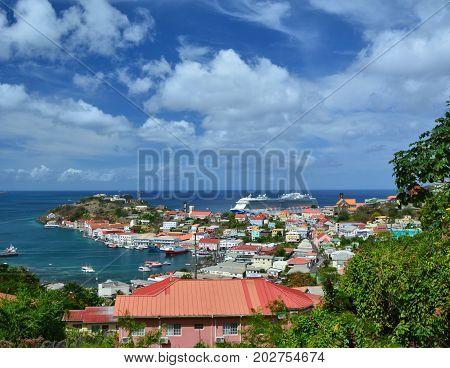 GRENADA CARIBBEAN - MARCH 25 2017 : Royal Princess ship in Saint George port. Royal Princess is operated by Princess Cruises line and has a capacity of 3600 passengers