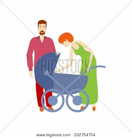 vector flat cartoon adult couple and baby stroller. Isolated illustration on a white background. Flat family characters. Adult red-haired man, adult woman in green dress and blue baby stroller