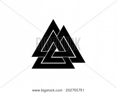 Valknut Is A Symbol Of The World's End Of The Tree Yggdrasil. Sign Of The God Odin. Norse Culture. T