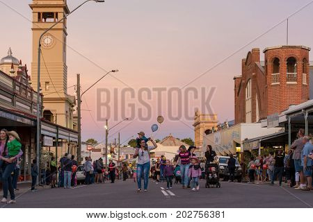 Charters Towers Australia - April 28 2017: Onlookers and participants in the annual street parade for the 40th Charters Towers Country Music Festival