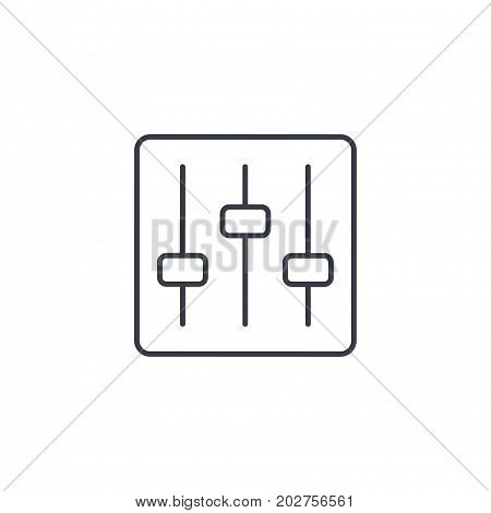 Mixer, music equalizer, setup thin line icon. Linear vector illustration. Pictogram isolated on white background
