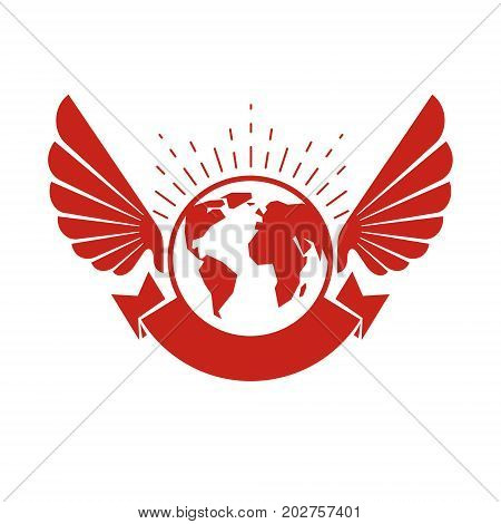 Vector Earth planet winged illustration. Inspiration and encouragement concept