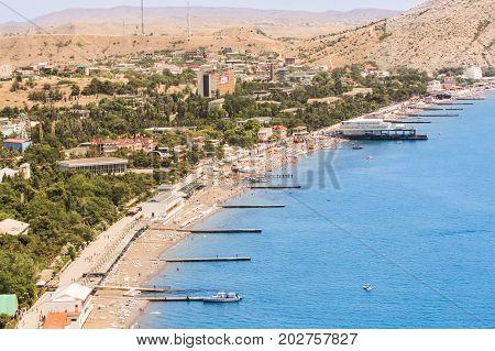 Southern resort sea coast. The southern city of Sudak on the Black Sea coast.
