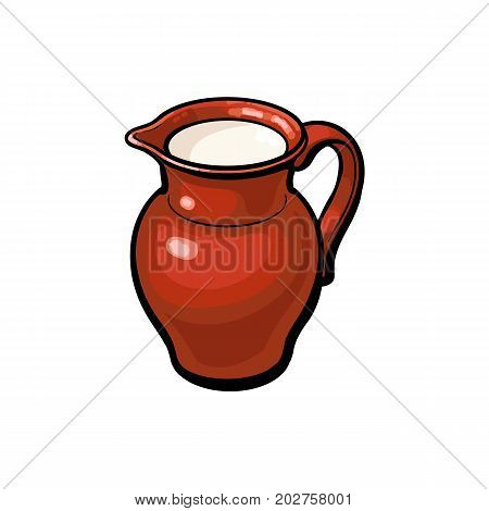 Brown clay pot, stoneware jug full of fresh cow, goat, sheep milk, sketch style vector illustration on white background. Realistic hand drawing of clay pot, stoneware jug with cow, sheep, goat milk