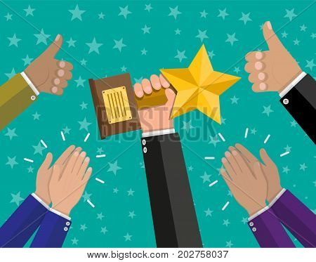 Businessman holding star trophy cup. Human hands clapping. Applaud hands and hold thumbs up. Vector illustration in flat style