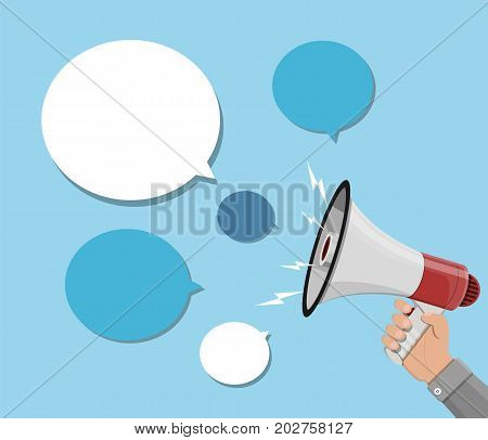 Loudspeaker or megaphone in hand and speech balloon. Talk balloon and bullhorn. Announcement element. Vector illustration in flat style