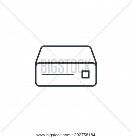 cd player, console, DVD, cd-rom thin line icon. Linear vector illustration. Pictogram isolated on white background