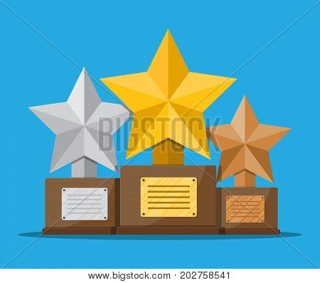 Trophy winner gold silver and bronze cup with wooden base. Star shape. Award, victory, champion achievement. Vector illustration in flat style