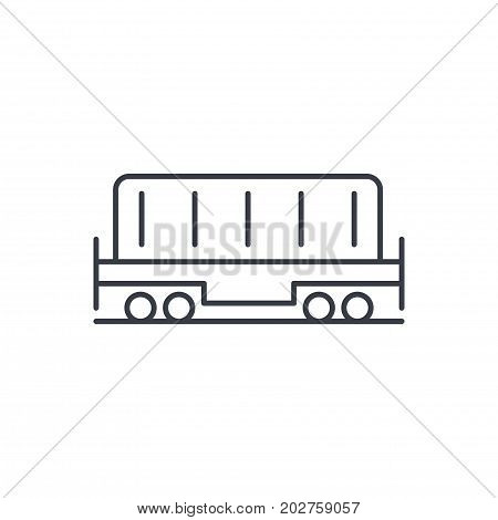 Railway container, wagon load thin line icon. Linear vector illustration. Pictogram isolated on white background