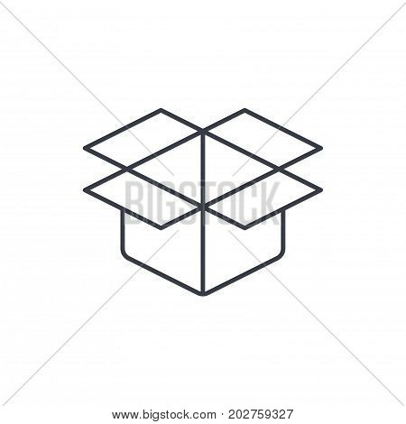 open carton box thin line icon. Linear vector illustration. Pictogram isolated on white background