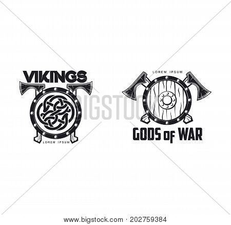 vector vikings gods of war icon logo template design set simple flat isolated illustration on a white background. Axes and shield with pattern image