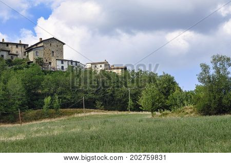 Rural landscape at summertime along the road from Santa Maria della Versa to Carmine (Pavia Lombardy). View of Canevino