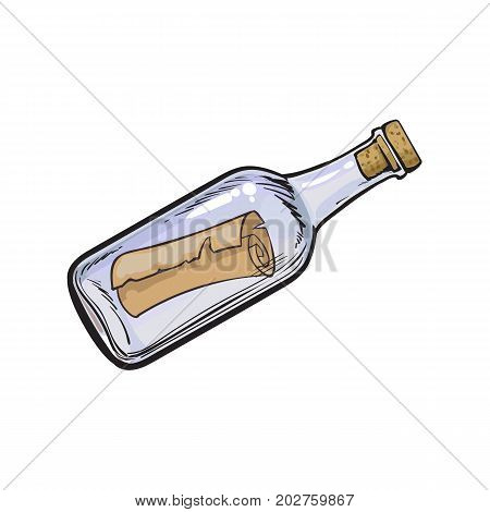 Message, letter, scroll in transparent glass bottle, hand drawn, sketch style cartoon vector illustration isolated on white background. Hand drawn cartoon vector illustration of message in bottle