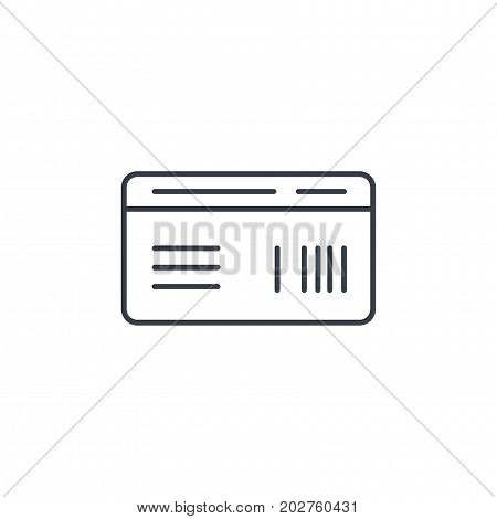 document whith barcode, plane or train ticket thin line icon. Linear vector illustration. Pictogram isolated on white background
