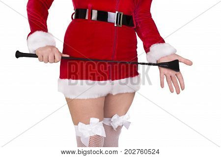 Beautiful sexy girl wearing santa claus clothes isolated on white background.