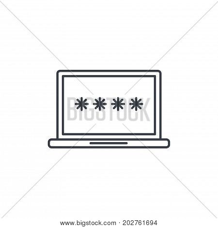 laptop login password, data secure lock, padlock thin line icon. Linear vector illustration. Pictogram isolated on white background