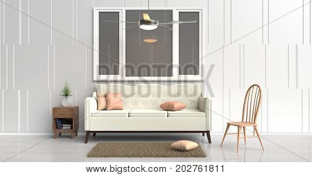 White room decorated with cream sofa,tree in glass vase, orange pillows, Blue book, Wood bedside table,Ceiling Fan,Wood chair, window,White cement wall it is pattern, white cement floor. 3d rendering.