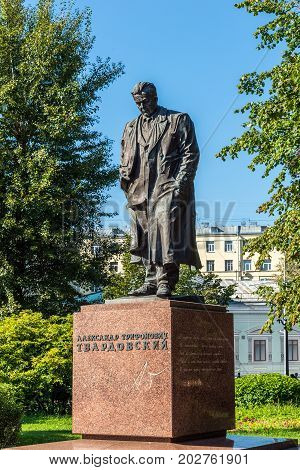 Moscow, Russia - August 31.2017. Monument to the poet Tvardovsky on Strastnoy Boulevard