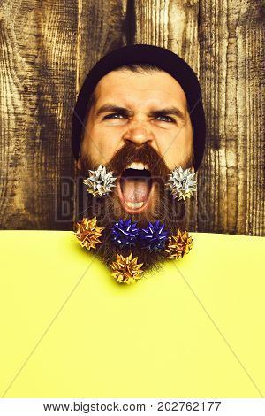 Bearded Man, Brutal Caucasian Angry Hipster With Gift Decoration Stars