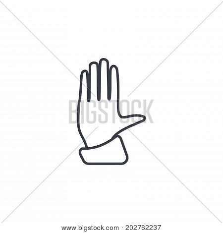hand palm, access control, stop thin line icon. Linear vector illustration. Pictogram isolated on white background