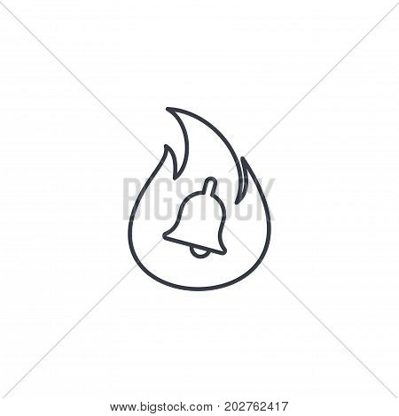 alarm fire bell, alert ring, firefighter help thin line icon. Linear vector illustration. Pictogram isolated on white background