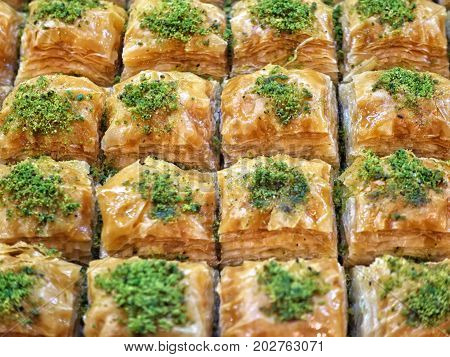 Turkish Traditional National Desserts Baklava Like Background