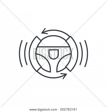 autonomous auto, autopilot, gyropilot, automatic pilot, smart car steering wheel thin line icon. Linear vector illustration. Pictogram isolated on white background