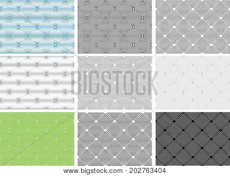 Set of seamless geometric patterns, opt art category. Swatches are included. Appropriate for textile, packing materials, website backgrounds.