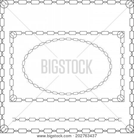 Geometric frameworks, oval, rectangular and square. Pattern brush.