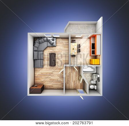 Interior Apartment Roofless Top View Apartment Layout On Blue Gradient Background 3D Render