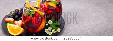Summer Red Wine Sangria Drink Panoramic image. Selective focus.