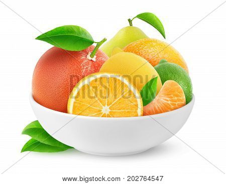 Isolated Citrus Fruits In A Bowl