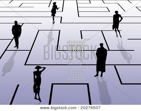 Searching the buyer. Labyrinth, shopping cart and silhouettes