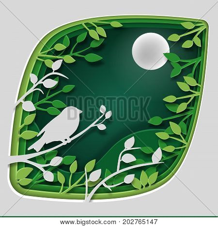 Paper art carve to bird on tree branch in forest at night vector art and illustration.