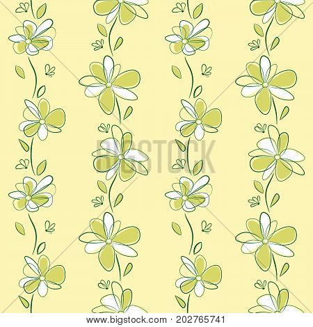 Seamless vertical pattern with abstract flowers. Swatch is included in vector file.