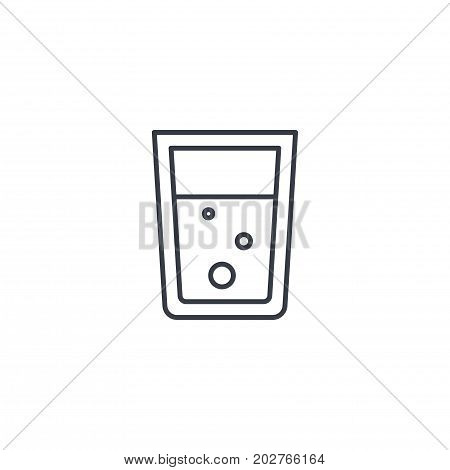 glass of water thin line icon. Linear vector illustration. Pictogram isolated on white background