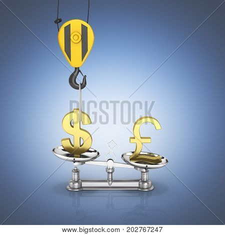 Concept Of Exchange Rate Support Dollar Vs Euro The Crane Pulls The Dollar Up And Lowers The Pound S