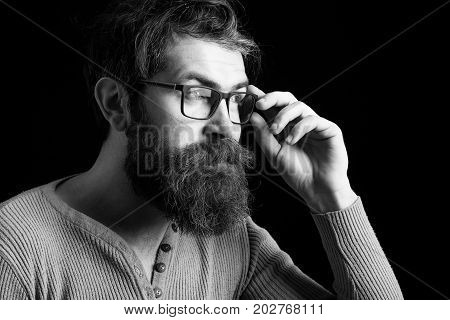 Serious Hipster Man In Glasses