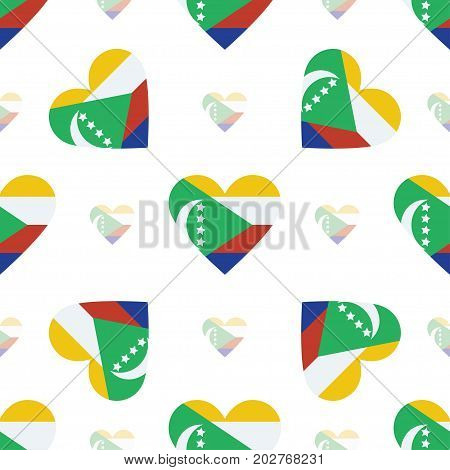 Comoros Flag Heart Seamless Pattern. Patriotic Comoros Flag Background. Country Flag In The Shape Of