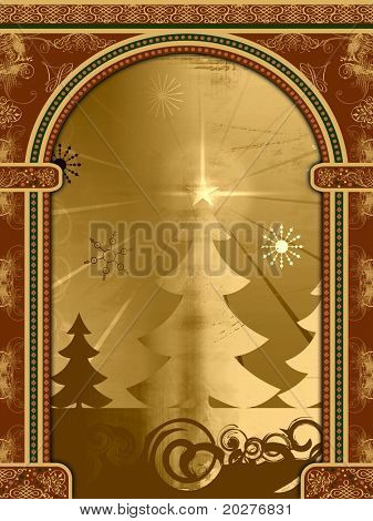 Arch with ornaments and retro Christmas scene