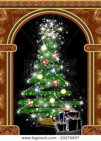 Arch with ornaments and Christmas tree with presents
